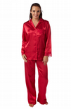 Ladies Satin 2 Piece Pyjamas - Berry 10 - 20